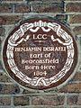 Benjamin Disraeli Earl of Beaconsfield born here 1804.jpg