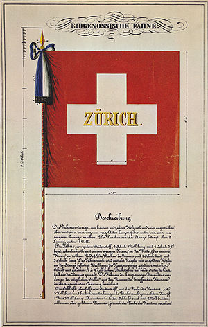 Flag of Switzerland - Final design for the flag used by cantonal troops under federal command (deployed by the Tagsatzung) in the Restoration period, by Carl Stauffer (1841). The specifications include the flag pole and the ribbon with the cantonal colours attached to the pole (the example depicted is the flag of the Zürich battalion). The flag itself is described as of good silk cloth, four feet five inches squared, scarlet, in the center a white cross, arms measuring one foot by three feet