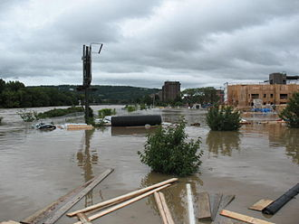 Binghamton, New York - Flooding in 2011 due to the remnants of Tropical Storm Lee