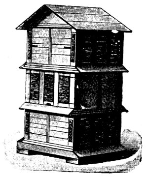 Johann Dzierzon - Stack of Dzierzon hives. Illustration from Nordisk familjebok.