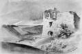 Bissingen an der Teck, Ruine Rauber - Aquarell von Eduard von Kallee, 1854.png
