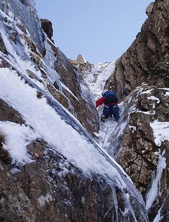 Merrick (Galloway) - Ice climbing in the Black Gutter, Merrick