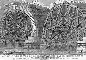 Robert Mylne (architect) - Blackfriars Bridge under construction in 1764, engraved by Piranesi