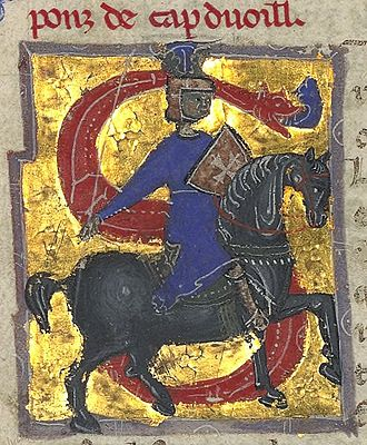 Pons de Capduelh - Pons portrayed as a crusader: a knight with a cross on his shield.