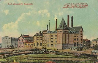 Beer in Turkey -  Bomonti Beer Factory on a postcard during the Ottoman period