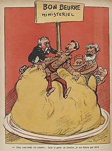 Desenho colorido do governo Combes sobre um grande pedaço de manteiga segurando o general André pela manga para evitar que escorregue.