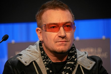 Bono at the World Economic Forum meeting in Davos, 2008. Bono WEF 2008.jpg