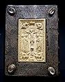 Book cover with evangelists, from the Chorherrenstift St. Georg, Köln, ivory c. 1060, surround c. 1480, ivory, silvered and gilt copper - Hessisches Landesmuseum Darmstadt - Darmstadt, Germany - DSC00267.jpg