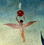 Bosch, Hieronymus - The Garden of Earthly Delights, central panel - Detail Winged man with fruit flies to heaven (upper right).jpg