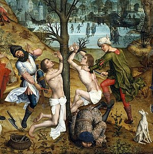 Saint Crispin's Day - Martyrdom of Crispin and Crispinian (detail), by Aert van den Bossche, 1494