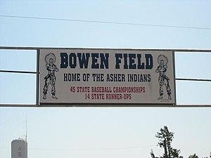 Asher, Oklahoma - Bowen Field Sign