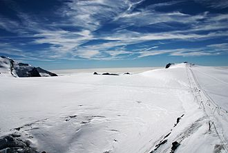 Klein Matterhorn - View from the summit towards the ski area (Breithorn Plateau)