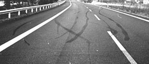 Traffic collision reconstruction - Skid marks on an asphalt road.