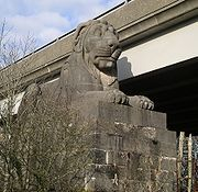 Monumental lion, one of four guarding each corner of Britannia Bridge