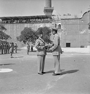 Charles Walter Allfrey - Lieutenant General Sir Charles Allfrey hands the key of the Citadel to the Egyptian Chief of Staff, Ferick Ibrahim Attallah Pasha, marking the formal handover of the fortress to local control. This ceremony was the first step towards the ending of British rule in Egypt.
