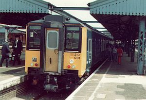 British Rail Engineering Limited - A Class 210 diesel-electric multiple unit at Reading on 30 May 1982 on the type's first passenger service.