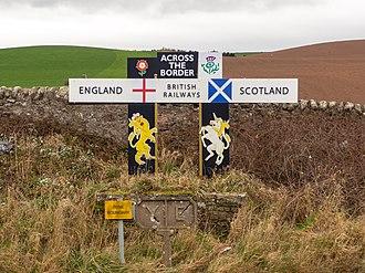Marshall Meadows Bay - The Anglo-Scottish border on the East Coast Main Line railway at Marshall Meadows Bay.