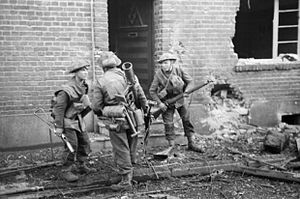 Operation Clipper - British infantry in action in the streets of Geilenkirchen