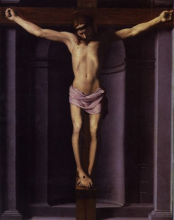 Bronzino's depiction of the Crucifixion with 3 nails, no ropes, and a hypopodium standing support, c. 1545. Bronzino-Christ-Nice.jpg