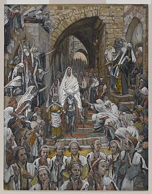 Palm Sunday - Jesus riding on a donkey in his triumphal entry into Jerusalem, depicted by James Tissot.