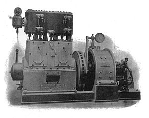 High-speed steam engine - Peter Brotherhood engine around 1900, supplied to the Royal Navy for on-board generation