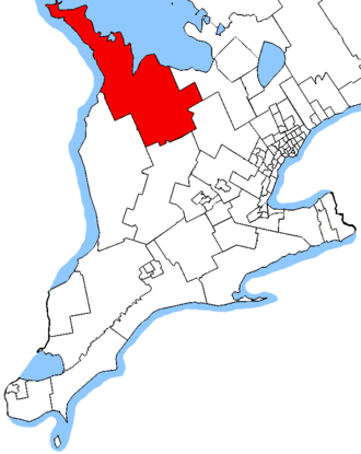 Bruce—Grey—Owen Sound (provincial electoral district) - Bruce—Grey—Owen Sound in relation to other southwestern Ontario electoral districts
