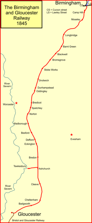 Birmingham and Gloucester Railway - The Birmingham and Gloucester Railway system in 1845