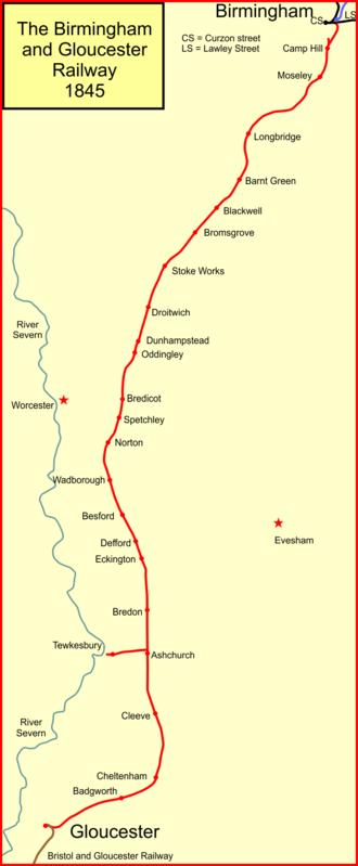Birmingham and Gloucester Railway - The Birmingham and Gloucester Railway system in 1845