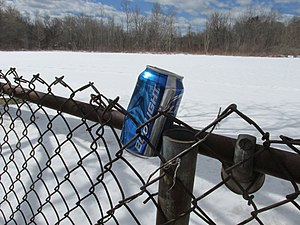 """Aluminum can marked """"Bud Light"""" in wedged into chain-link fence in front of snow-covered field"""