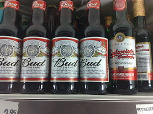 "Budweiser - American Budweiser is sold in most of the European Union as ""Bud"" (left). At right is a bottle of Czech Budweiser"