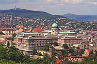 Budapest. View to Buda Castle Hill and Buda Hills from Gellért Hill.jpg