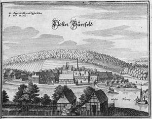 Johannes de Indagine (Benedictine) - Bursfelde Abbey after Matthäus Merian, c. 1654−1658