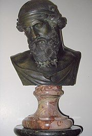A bust of Aristotle is a nearly ubiquitous ornament in places of high culture in the West[citation needed].