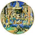 C.sf., urbino, francesco xanto avelli, piatto con inondazione del tevere, 1531.JPG