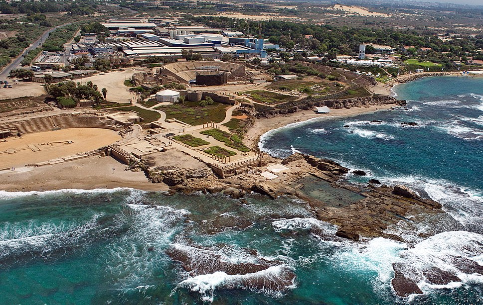 CAESAREA' KING HEROD'S SEA PALACE AERIAL