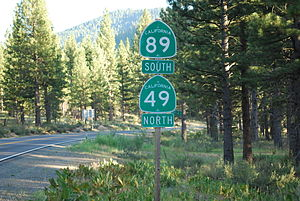 California State Route 89 - SR 89 (South) briefly joins SR 49 (North) in Sierra County, an example of a wrong-way concurrency