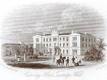 Illustration of a grand hotel in the middle distance, groups of figures in 19th-century dress in the foreground