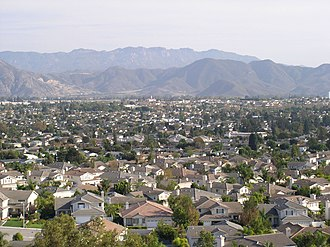 Commuter town - Camarillo, California, a typical U.S. bedroom community made up almost entirely of homes, schools and retail outlets