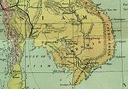 Detail of an 1886 map of Indochina. At this time, present-day Ratanakiri was a part of Siam.