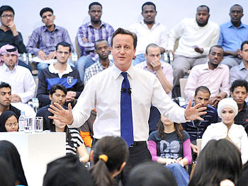 English: Prime Minister David Cameron takes qu...