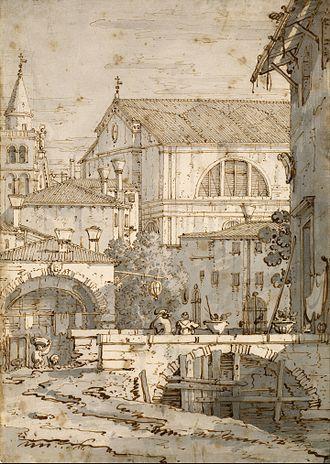 Canaletto - Architectural Capriccio, drawing, Morgan Library & Museum