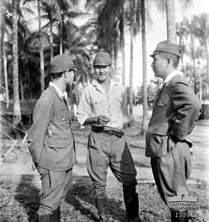 Sandakan camp - Captain Susumi Hoshijima (centre) during the war crimes trial in Labuan.
