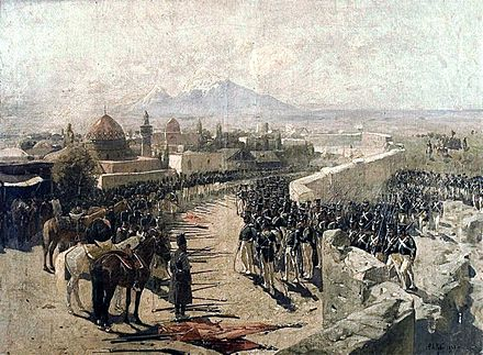 Franz Roubaud's 1893 painting of the Erivan Fortress siege of 1827 by the Russian forces under leadership of Ivan Paskevich during the Russo-Persian War (1826–28)