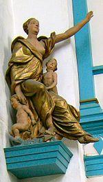 A Caridade, virtude teologal, Igreja de N. Senhora, Trondheim, Noruega. A concórdia é fruto da virtude da caridade