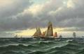 Carl Bille - Fiskerbåde på havet, aftenstemning.png