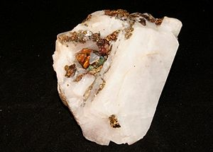 Carrollite - Carrollite and native copper on calcite