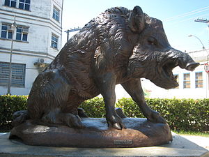 Cast metal statue of wild boar in Maceio, Alagoas, Brazil