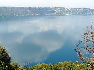 Roman Castles - The Lake Albano. In the background Castel Gandolfo