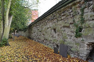 Leicester Castle - A view of the castle wall