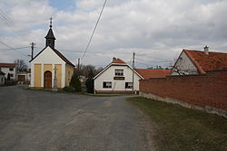 Center of Stropešín with Chapel and pub, Stropešín, Třebíč District.jpg